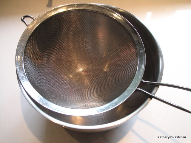 Colander or Sieve Placed in Bowl