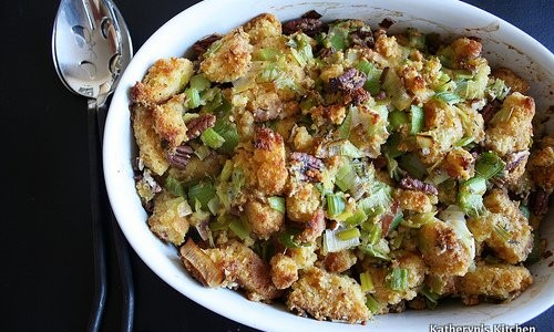 ... Recipes » Side Dishes » Cornbread, Bacon, Leek and Pecan Stuffing