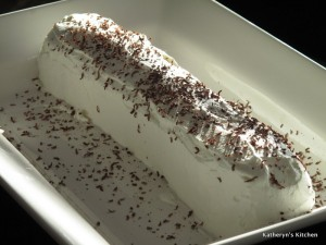 Chocolate Wafer Cake Garnished with Chocolate Shavings