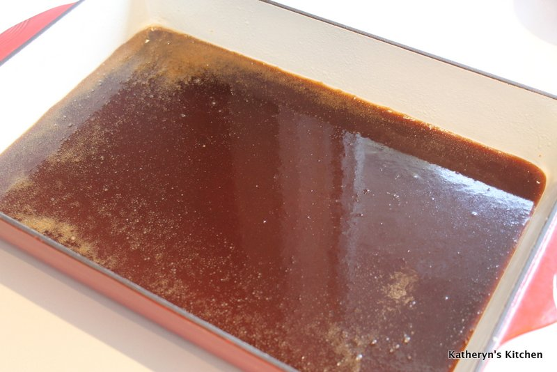 Sticky Sugar Sauce Poured into 9 x13 Pan