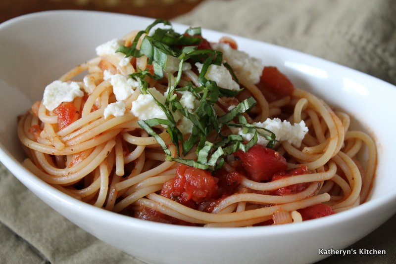 Spaghetti in a Tomato Sauce with Fresh Basil and Ricotta