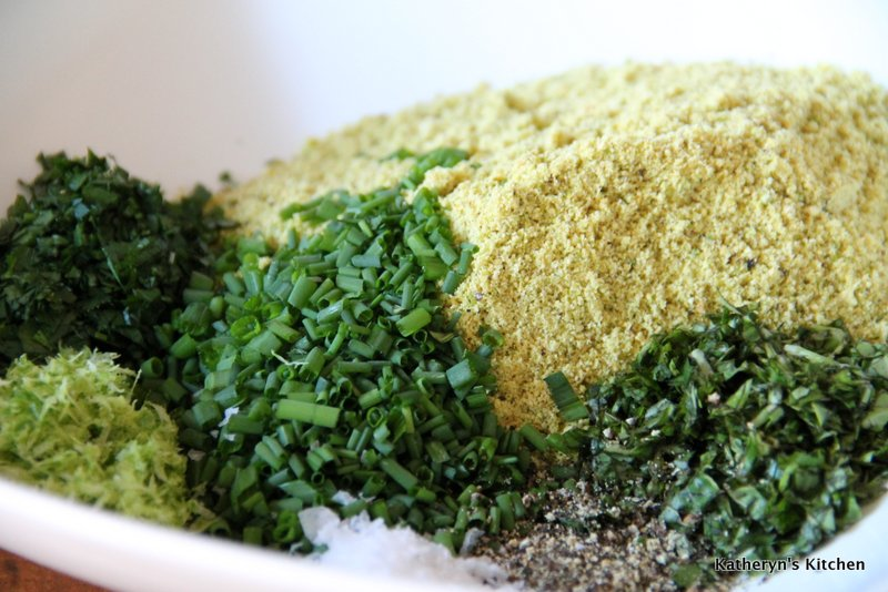 Ground Pistachio and Chopped Herbs