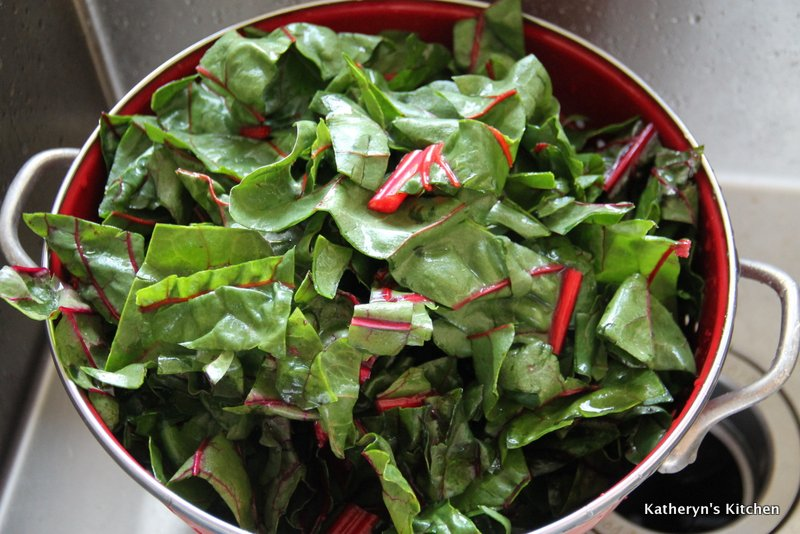 Draining the Swiss Chard