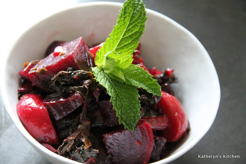 Warm Beet Salad with Herbs and Swiss Chard