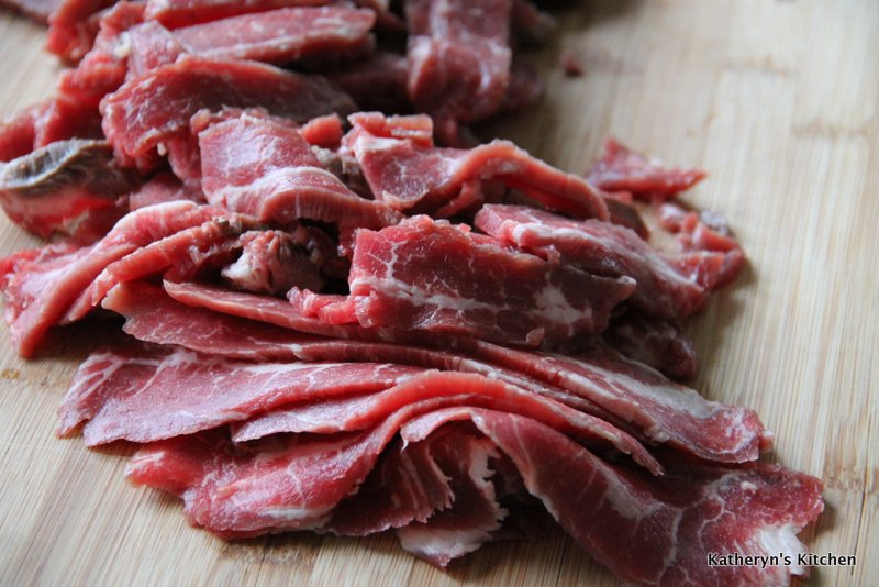 Thinly sliced beef
