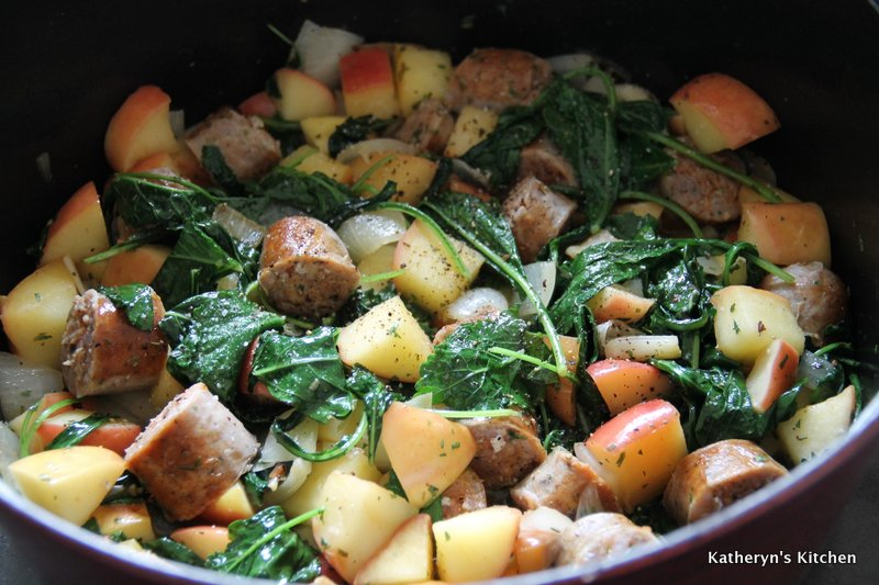 Sauteed Vegetables, Kale, Apples and Added Browned Sausages