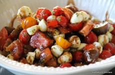 Cherry Tomato and Bocconcini Salad with a Pesto Vinaigrette