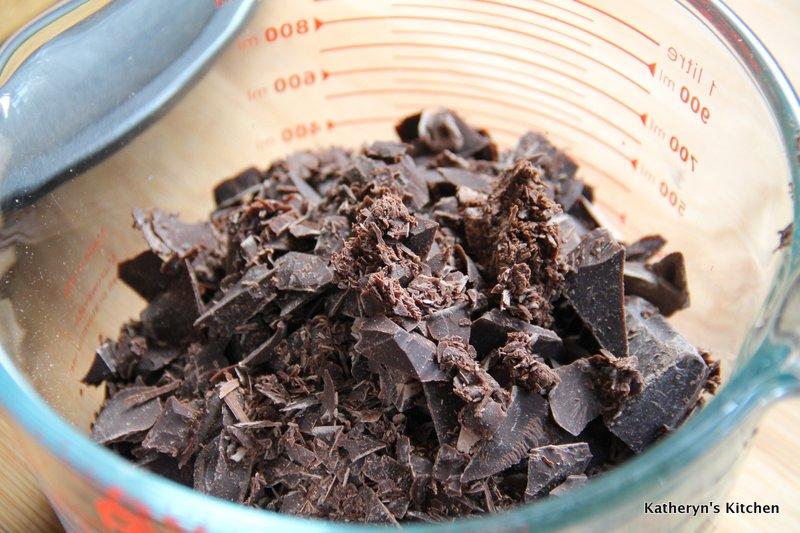 Chopped up dark chocolate