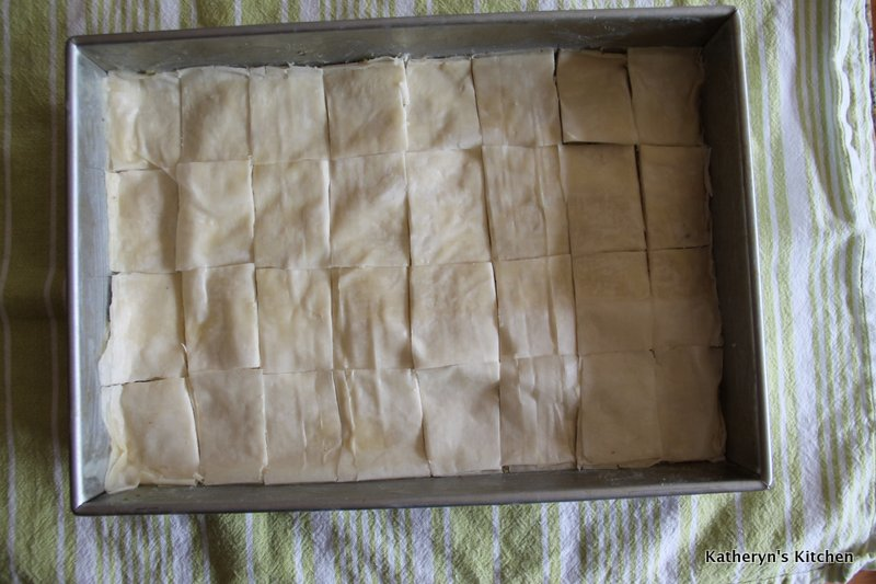 Cold pastry sliced into 32 pieces- 8 x 4