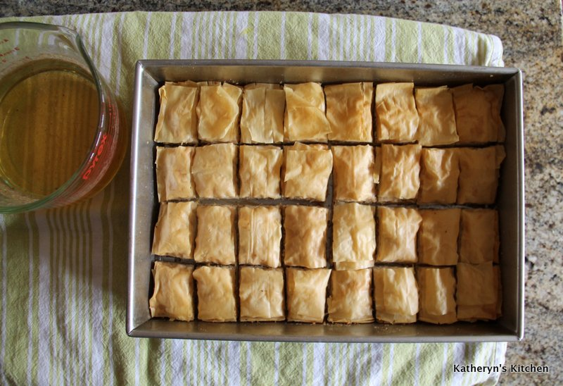 Baklava just out of the oven